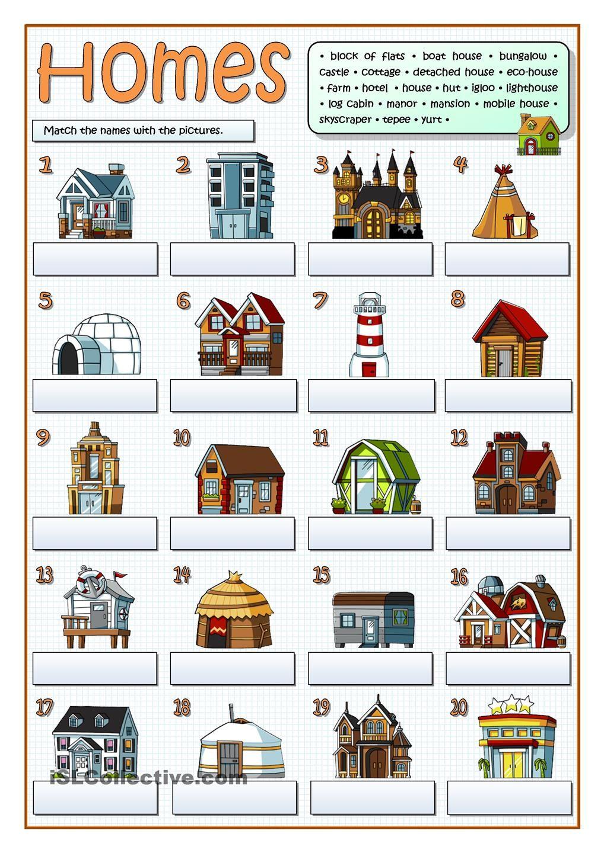 Types of homes free esl worksheets