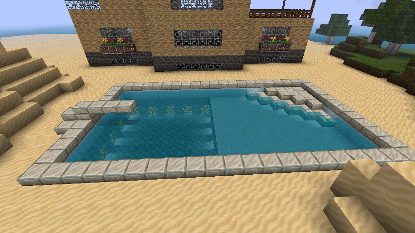 Pool with diving board minecraft pinterest board for Cool pool house ideas