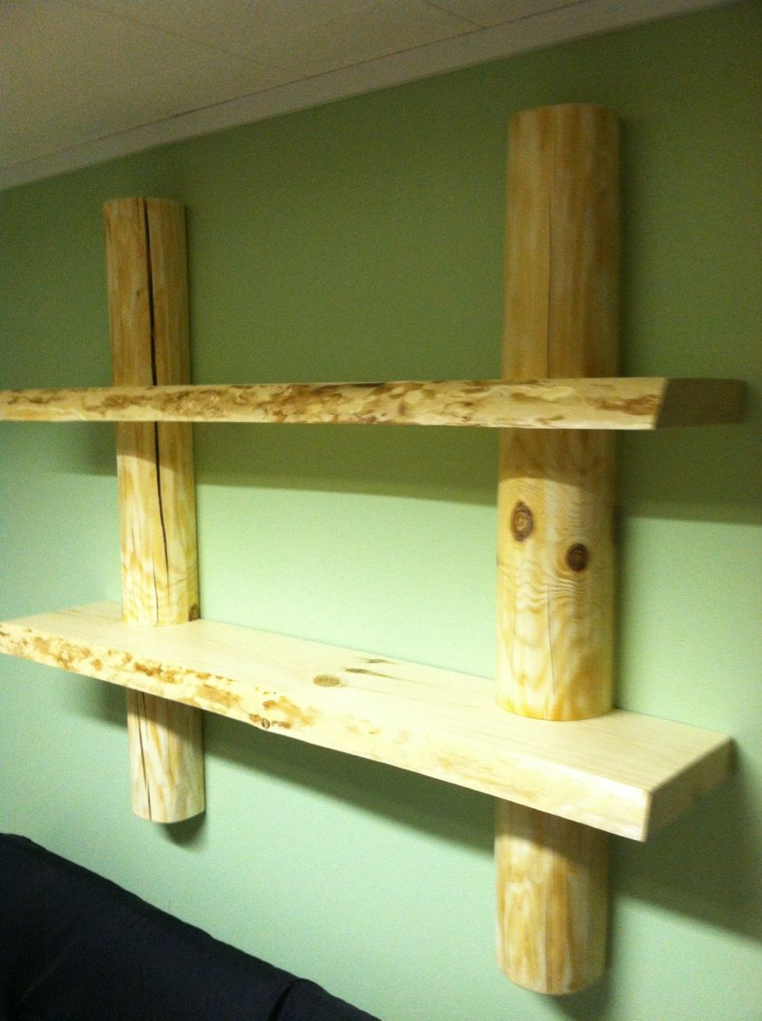 Floating Red Pine shelves and log rails I made for my wife\'s office ...