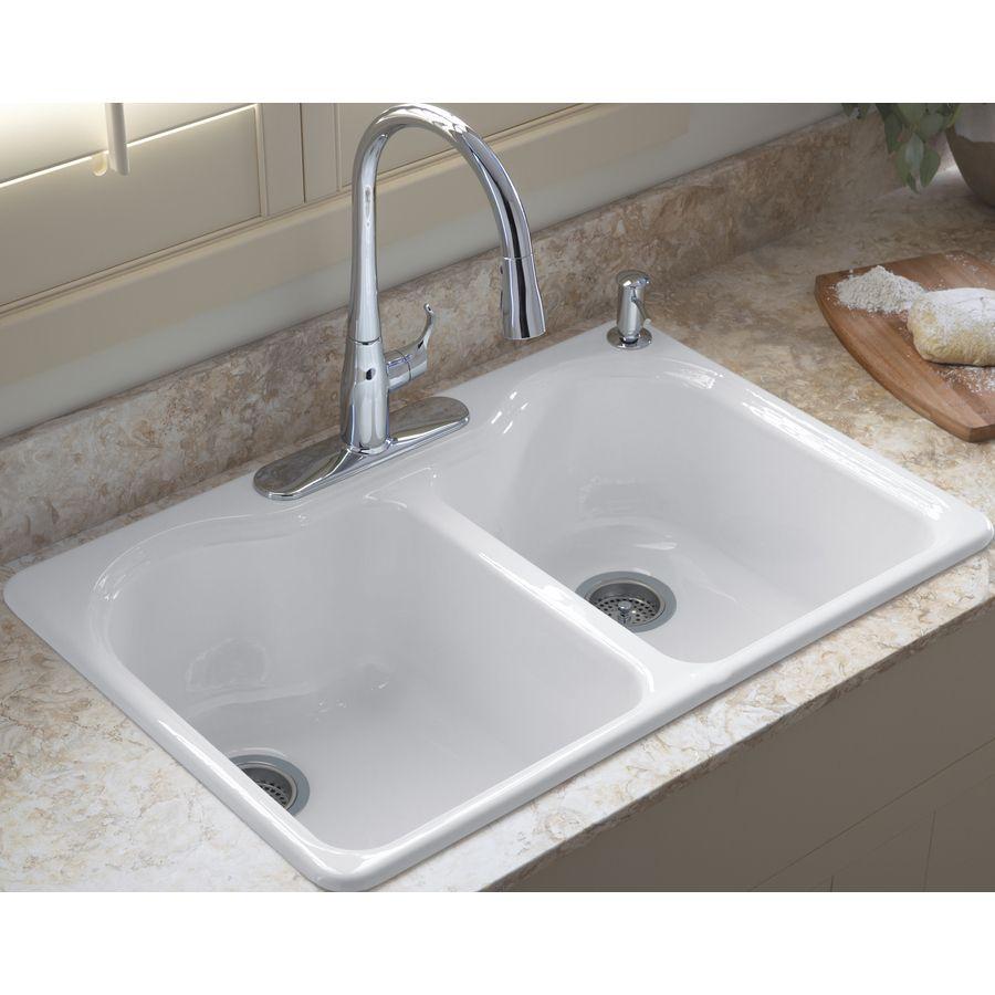 Shop Kohler Hartland 22 In X 33 In White Double Basin Cast Iron Drop In 4 Hole Commercial Reside Double Bowl Kitchen Sink Commercial Kitchen Sinks Kitchen Sink