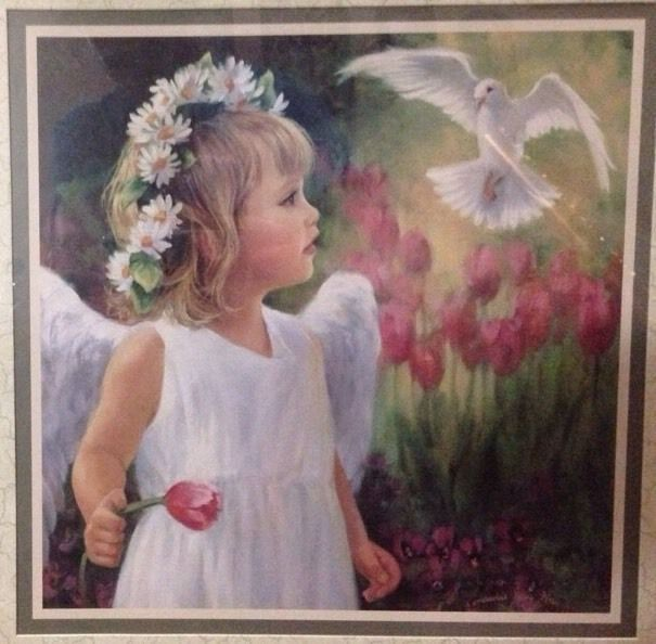 Home Interiors Homco Picture Angel Girl W Dove By Laurie