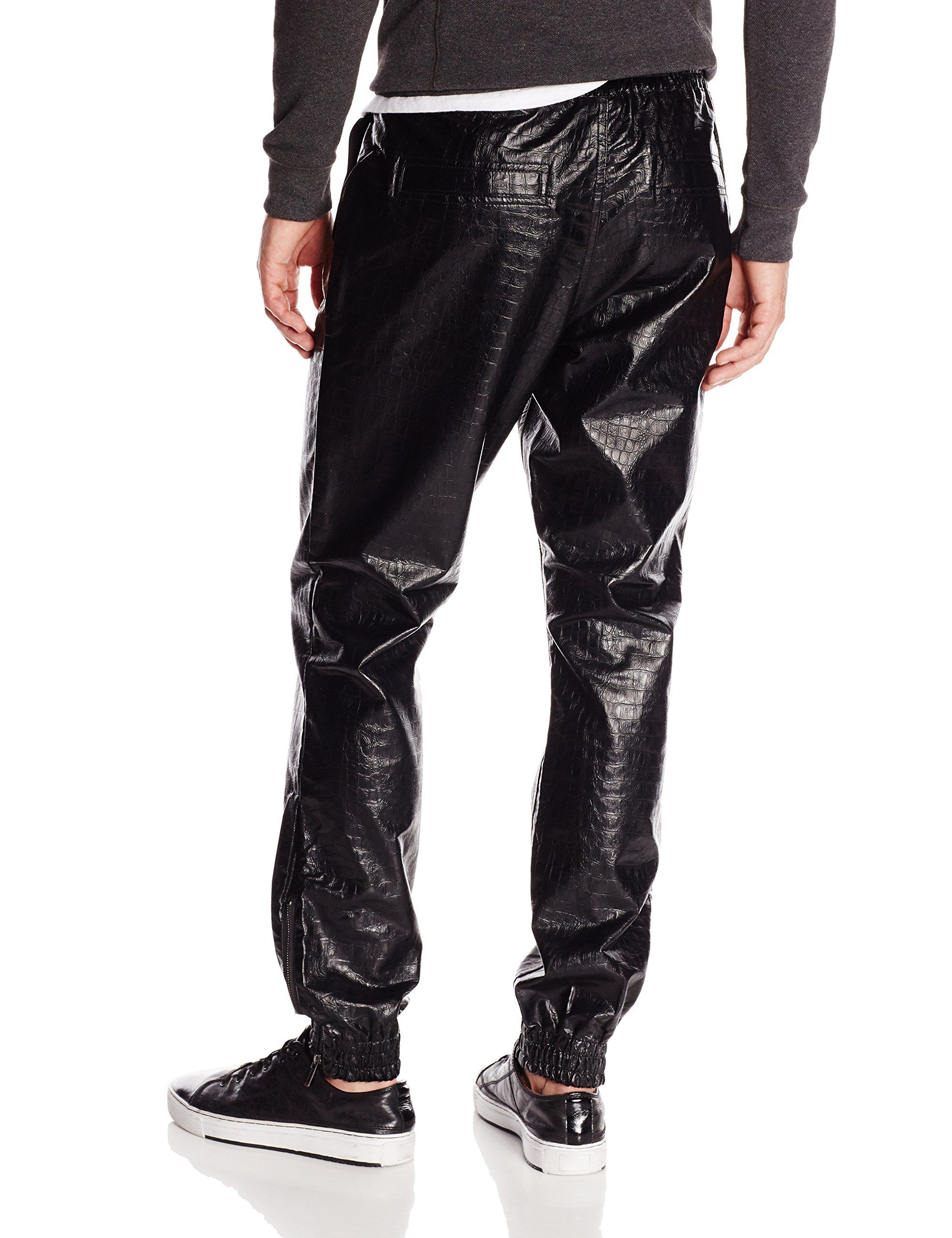 Southpole Men's Jogger Pants In Alligator Faux Leather, Black, X-Large at  Amazon