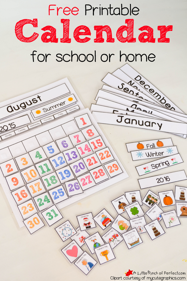 Free Printable Interactive Preschool Calendar Kids Math