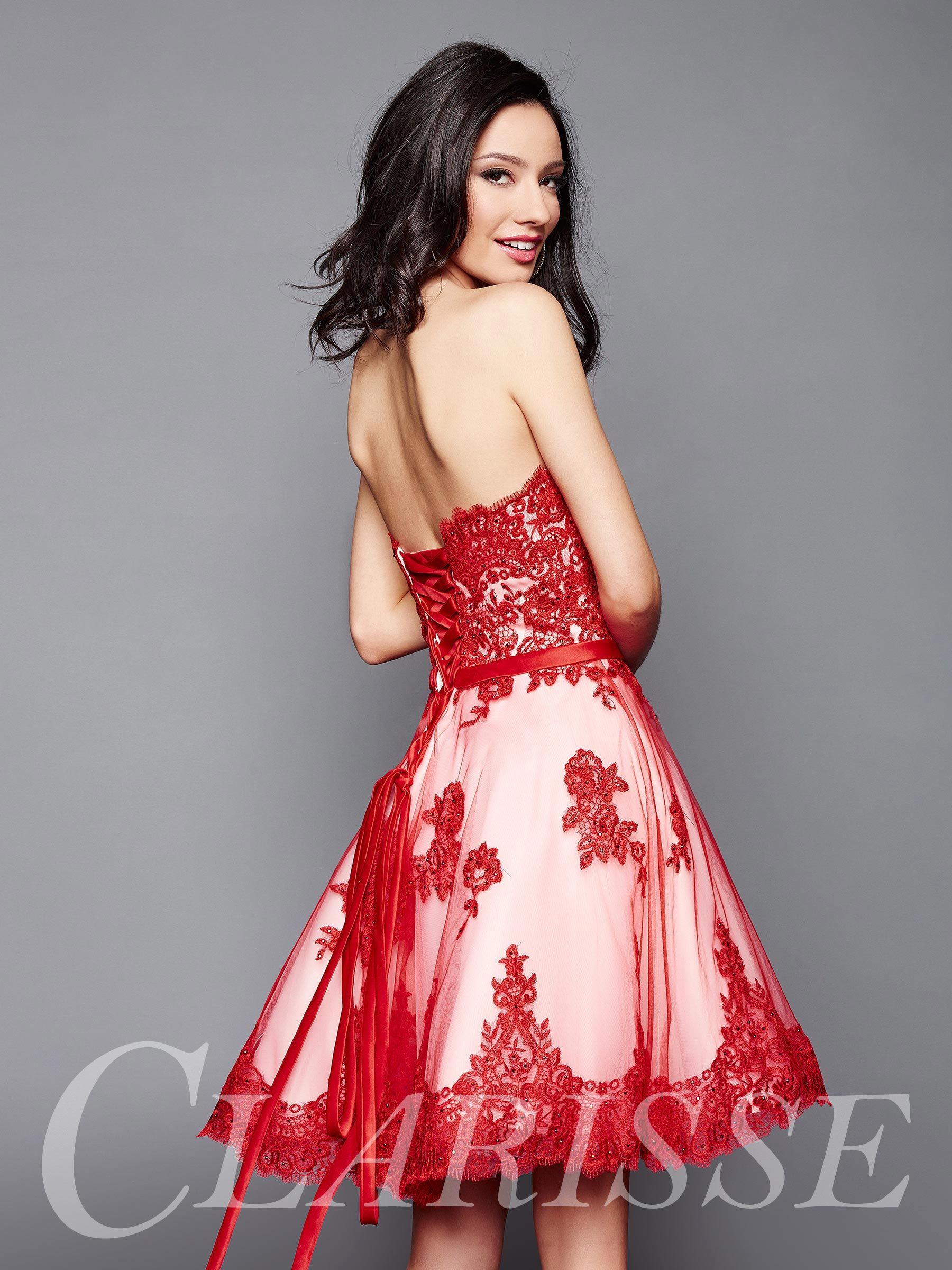 5942c82c489d Adorable red and white lace homecoming dress by Clarisse 3367! DESCRIPTION:  Strapless, short