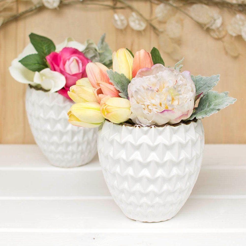 Amazon.com: White Ceramic Vase, Candle Holder, Origami Pattern, 5.5 ...