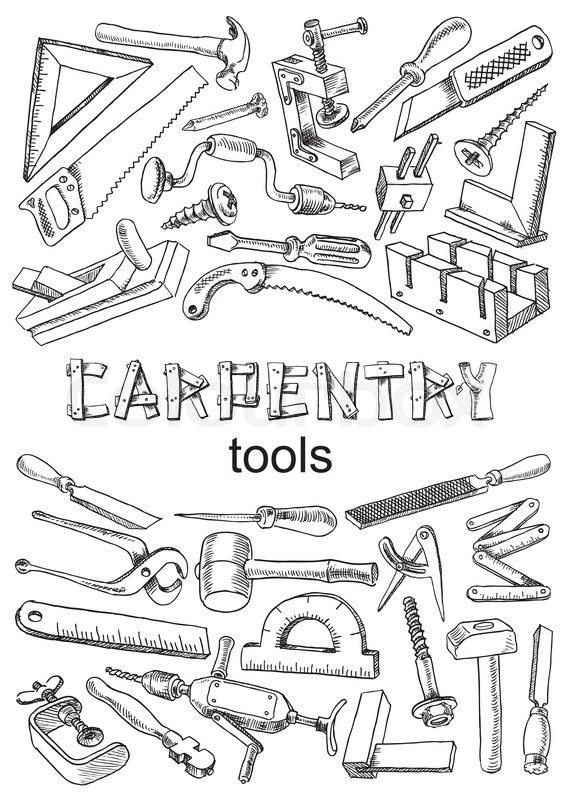 Set of tools for carpentry work. Images in the freehand