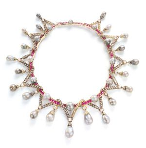 Marie Antoinette gave a bag of pearls and diamonds to Lady Sutherland, the British ambassador's wife, before she fled revolutionary France in 1792, a year before the monarch's death. Now they are part of a diamond, ruby and pearl necklace.