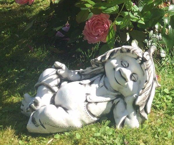 Troll Kobold Steinfigur Gartenfigur Gartendeko R007 Figury