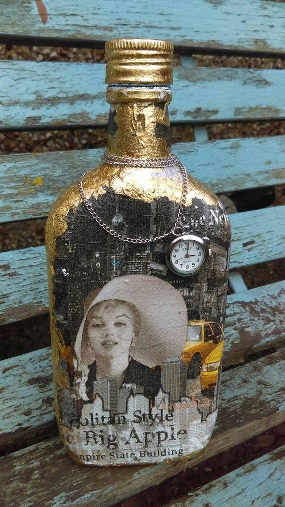 Marilyn Monroe altered bottle,decoupaged bottle,Decanter,Hand decorated bottle,carafe,glass bottle,