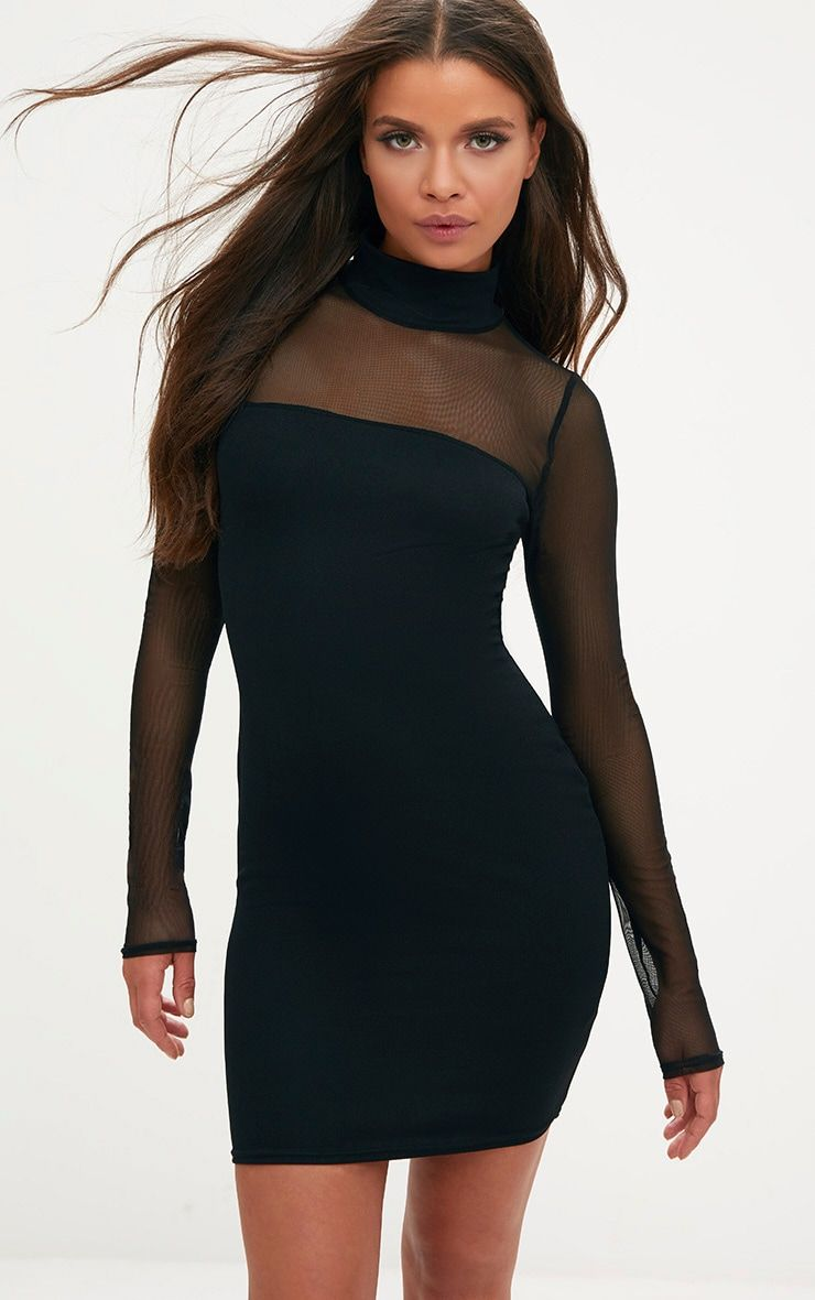 9d0bc539c4e Black High Neck Mesh Panel Bodycon Dress
