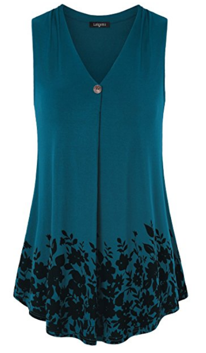 45543d3f5c8 Laksmi Womens Sleeveless Pleated V Neck A Line Floral Printed Casual Flow  Summer Tunic Tops, perfect work wear