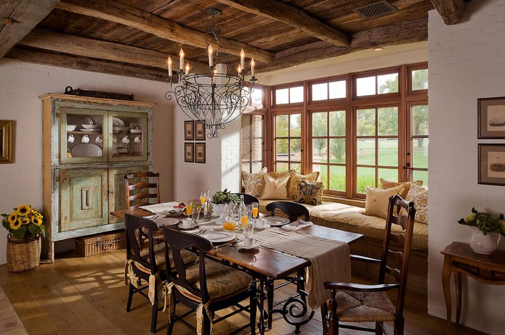 Phenomenal Window Seat Decorating Ideas For Arresting Dining Room Mediterranean Design With Casement Windows Distressed Paint Exposed Wood Beams