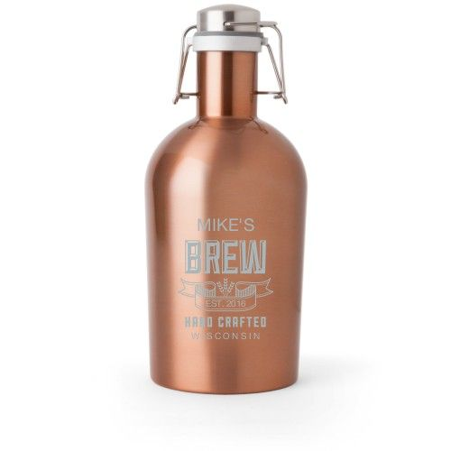 Brew Banner Growler, Growler Single Side, Stainless Steel, Copper, White