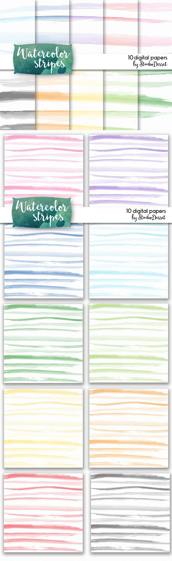 Watercolor Stripes - digital papers. Patterns