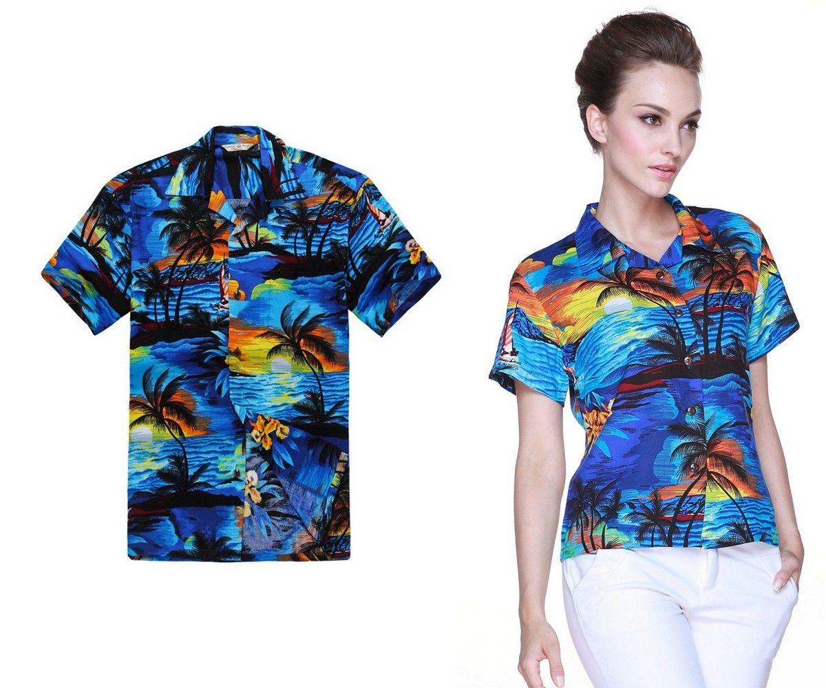 b5244df6 Couple Matching Men and Women Aloha Hawaiian Shirts in Sunset Blue ...
