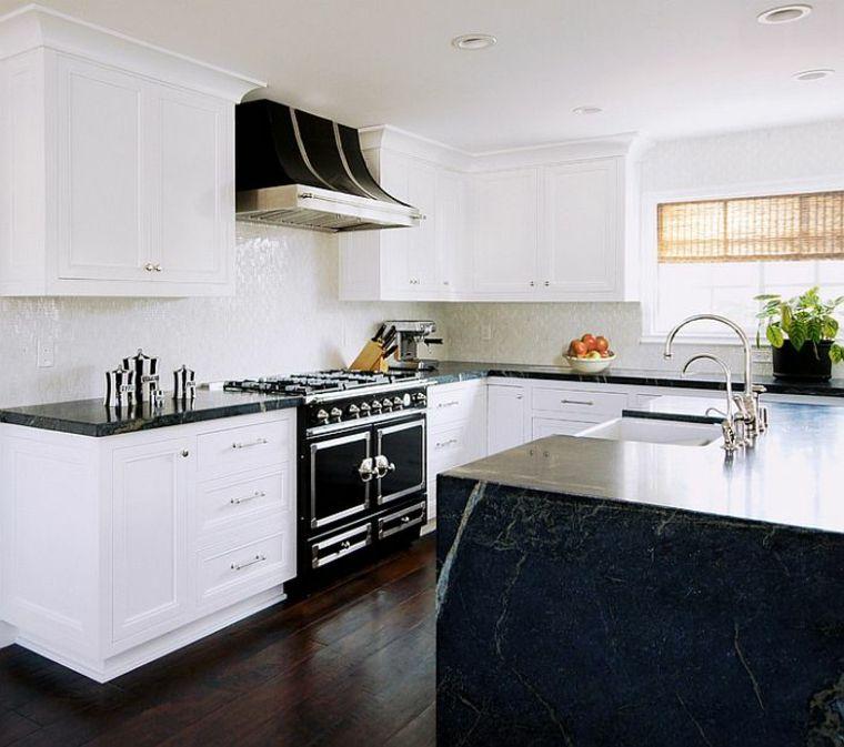 bonito diseño blanco negro | Interiores para cocina | Pinterest