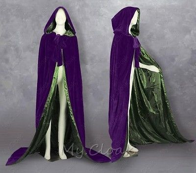 New-Purple-Velvet-Halloween-Cape-Hooded-Cloak-Coat-Shawl-Wedding-Cape-Size-S-6XL