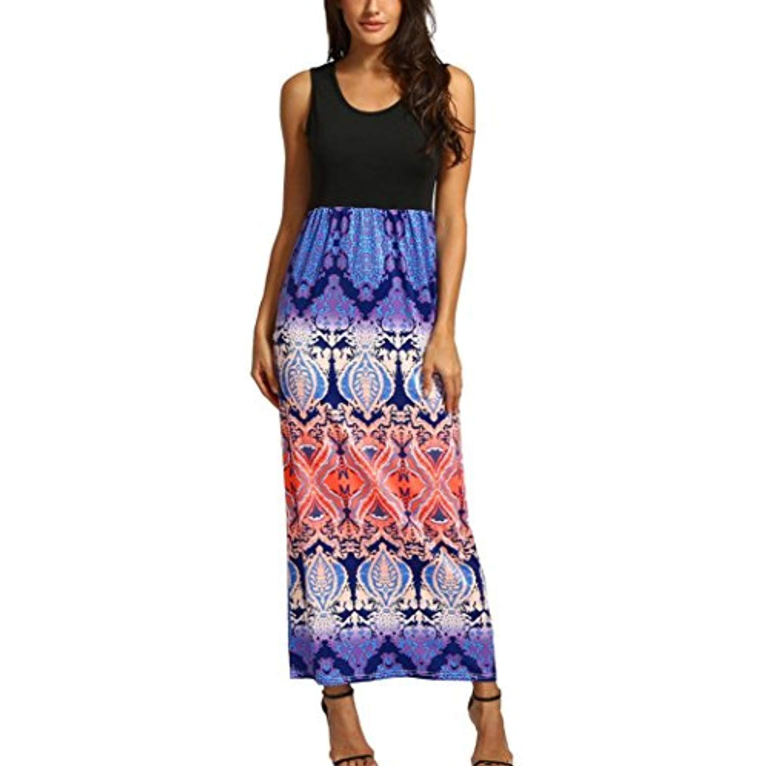 7023d124e1c New Fashion Women Bohemian Long Maxi Dress Printed Splice Tank Sleeveless  Casual Summer Beach Dress -- Check out this great product.