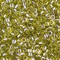 Miyuki 11/0 (1.6mm) Delica Transparent Golden Olive Luster glass cylinder beads, colour number DB 124. UK seller.