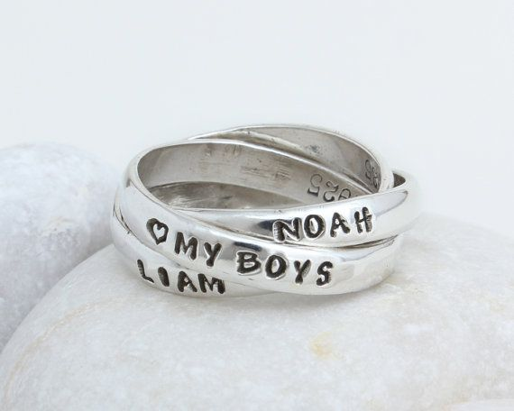 88382868a Unique Mothers Rings! Interlocking Rings. Stamped Name Ring for Mom. A  triple name ring gift for Mom. Personalized Mothers Day Gift. Weve been