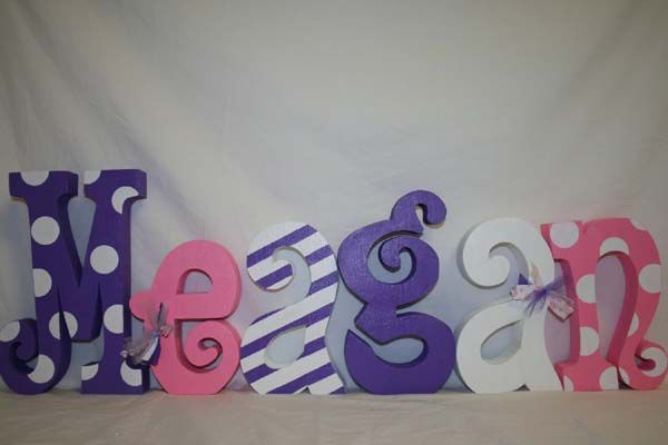 Cute Ideas For Making Wooden Letters For Baby Room Purple Ribbon