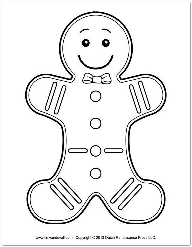 Coloring Page Gingerbread Man Printable