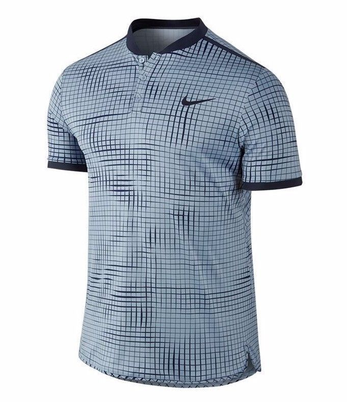 Nike Court Advantage Printed Tennis Polo Mens L Blue Grey Obsidian 801702  450