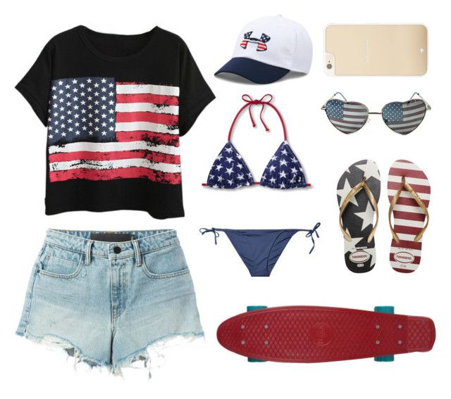 """Happy 4th of July!"" by miki1994 ❤ liked on Polyvore featuring Chicnova Fashion, T By Alexander Wang, Under Armour, ONIA, Havaianas and Kate Spade"