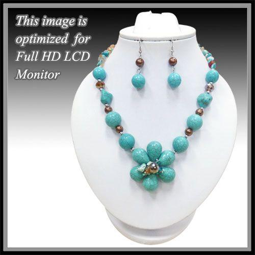 Turquoise Howlite Flower Necklace Set: Sierra Western Wear