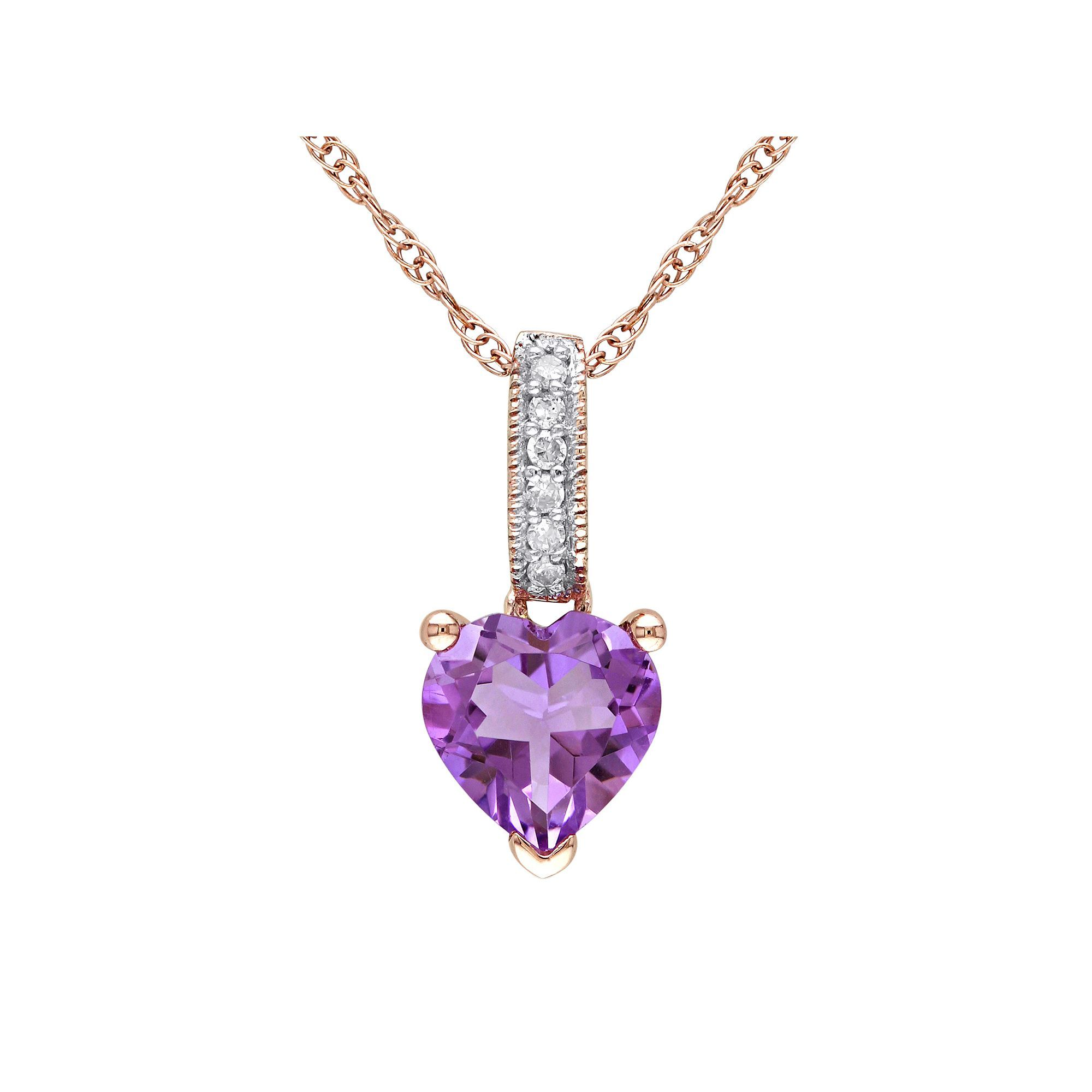 Amethyst and Diamond Accent 10k Rose Gold Heart Pendant Necklace
