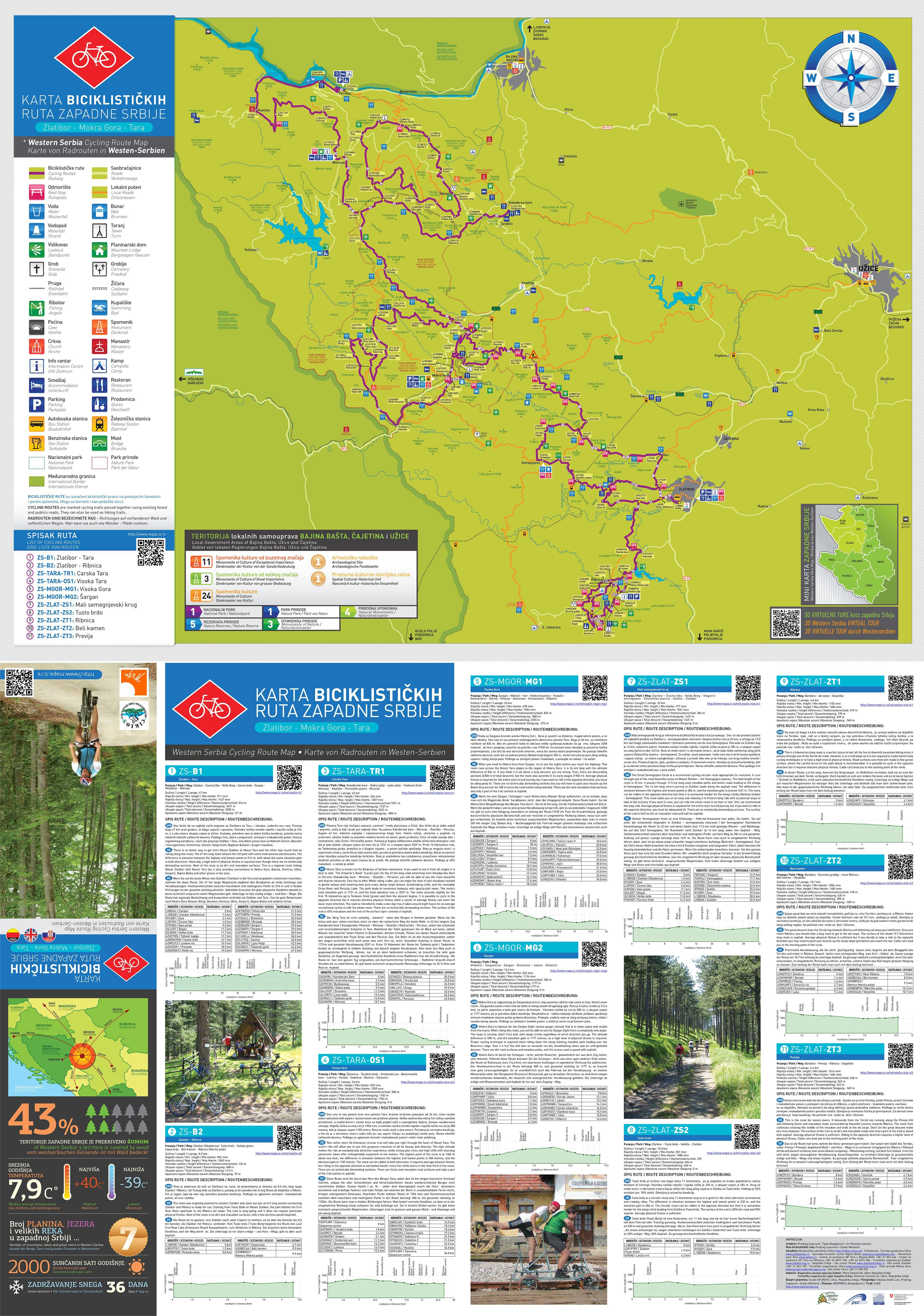 Karta Biciklistickih Ruta Zlatibor Mokragora Tara Zlatibor Map
