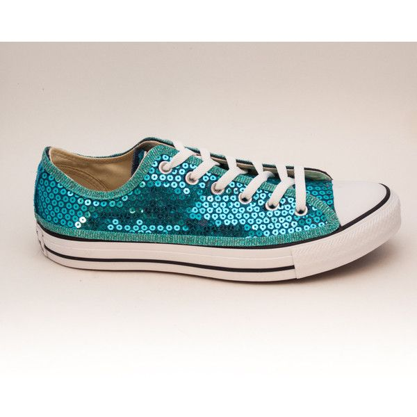 Sequin Sky Turquoise Blue Canvas Converse Low Top Sneakers Shoes ($115) ❤  liked on