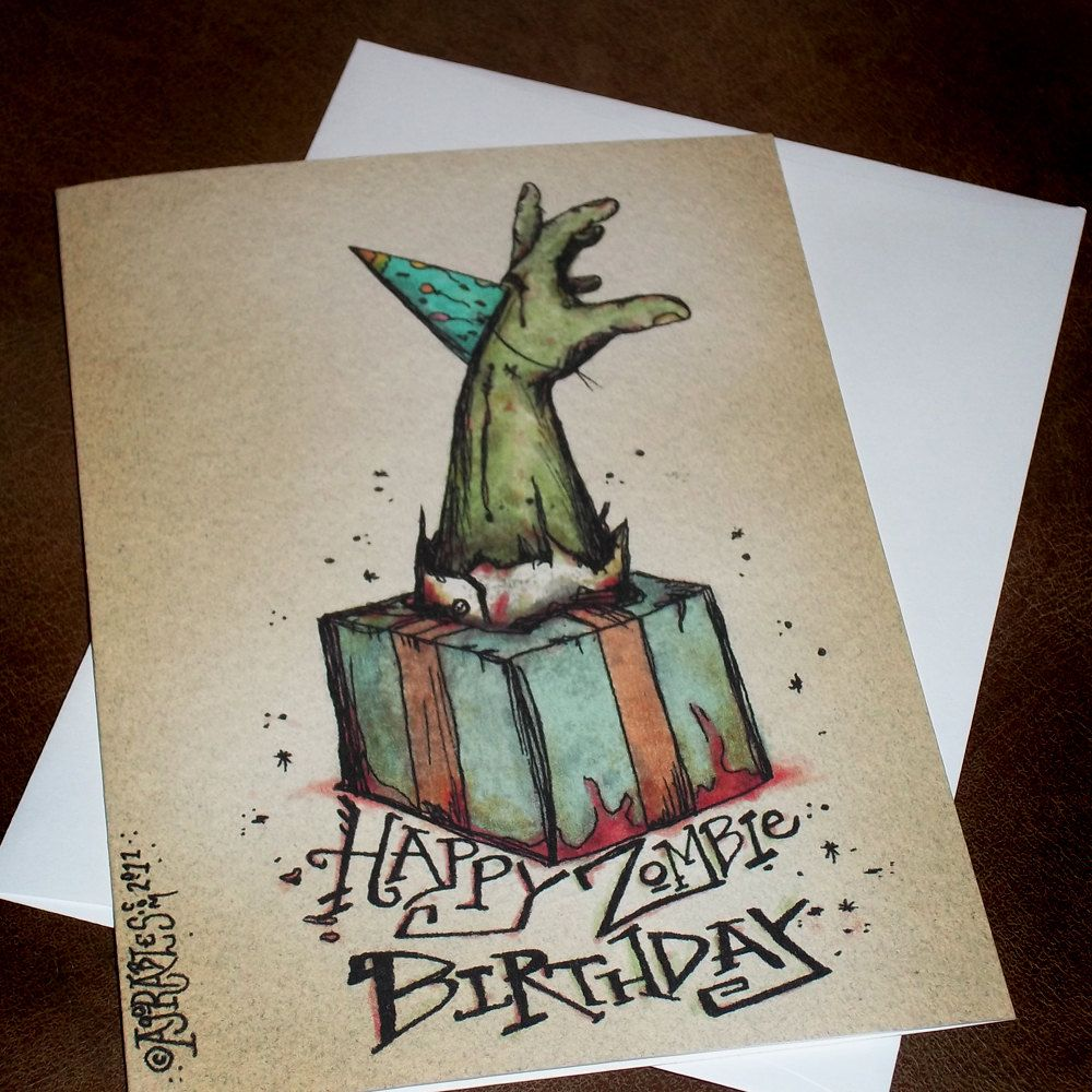 Zombie Happy Birthday Card Bursting From The Gift 5x7 Greeting Card Blank Inside By Agorables Rulers Of T Zombie Birthday Parties Zombie Birthday Zombie Party