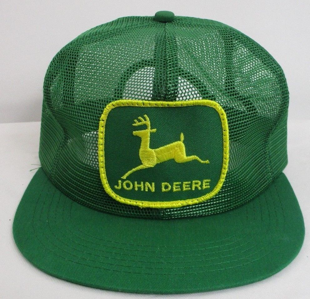 74d5560d65c Vintage JOHN DEERE 80s Green Trucker Hat Cap Snapback ALL MESH K-Products  USA  KProductsINC  AllMeshTruckerHat  Casual