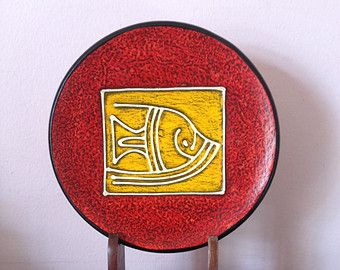 Terra cotta mid century modern art deco fish plate wall hanging