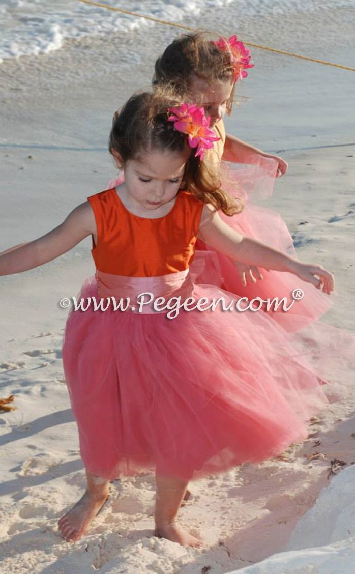 Mango Carrot Orange Coral Pink Flower Girl Dresses In Tulle By