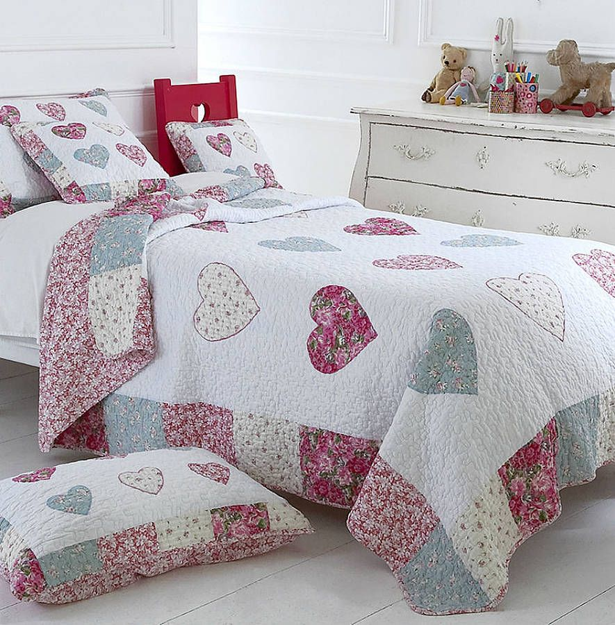 Patchwork Hearts Cotton Quilted Bedspread Bed Spreads Quilt Bedding Quilts