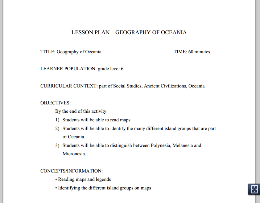 6th grade Geography of Oceania lesson plan | Resources on Oceania