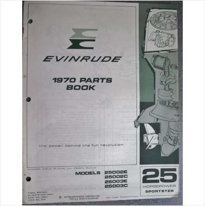 Evinrude 25hp Sportster Parts Book 1970 279271 On Ebid