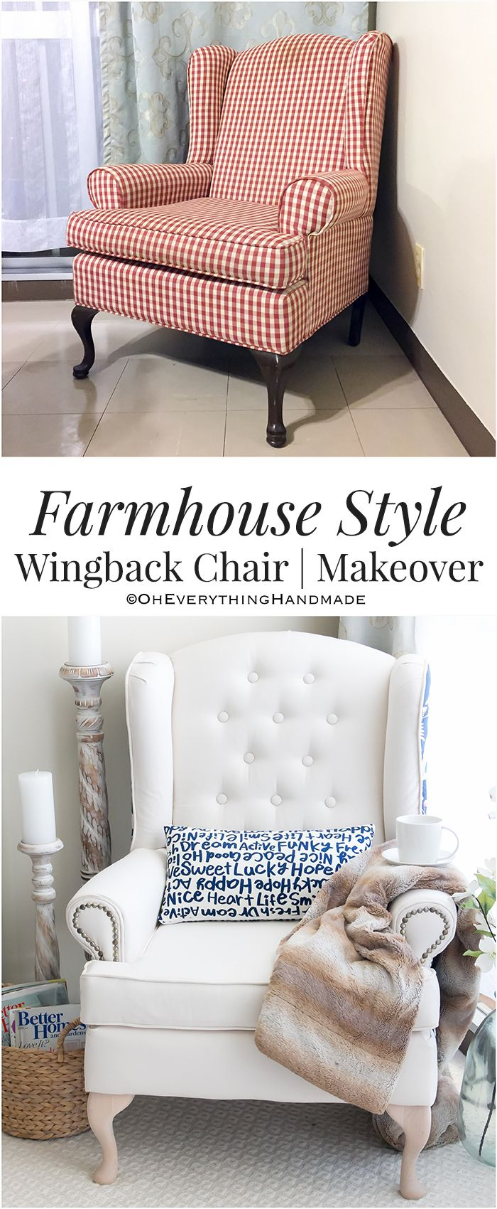Farmhouse Style Wingback Chair Makeover   Chair makeover, Wingback ...