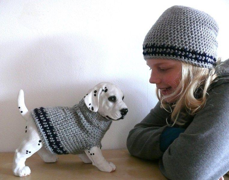 Hundemantel aus Wolle gehäkelt und Mütze im Set von stitchbully.de ...