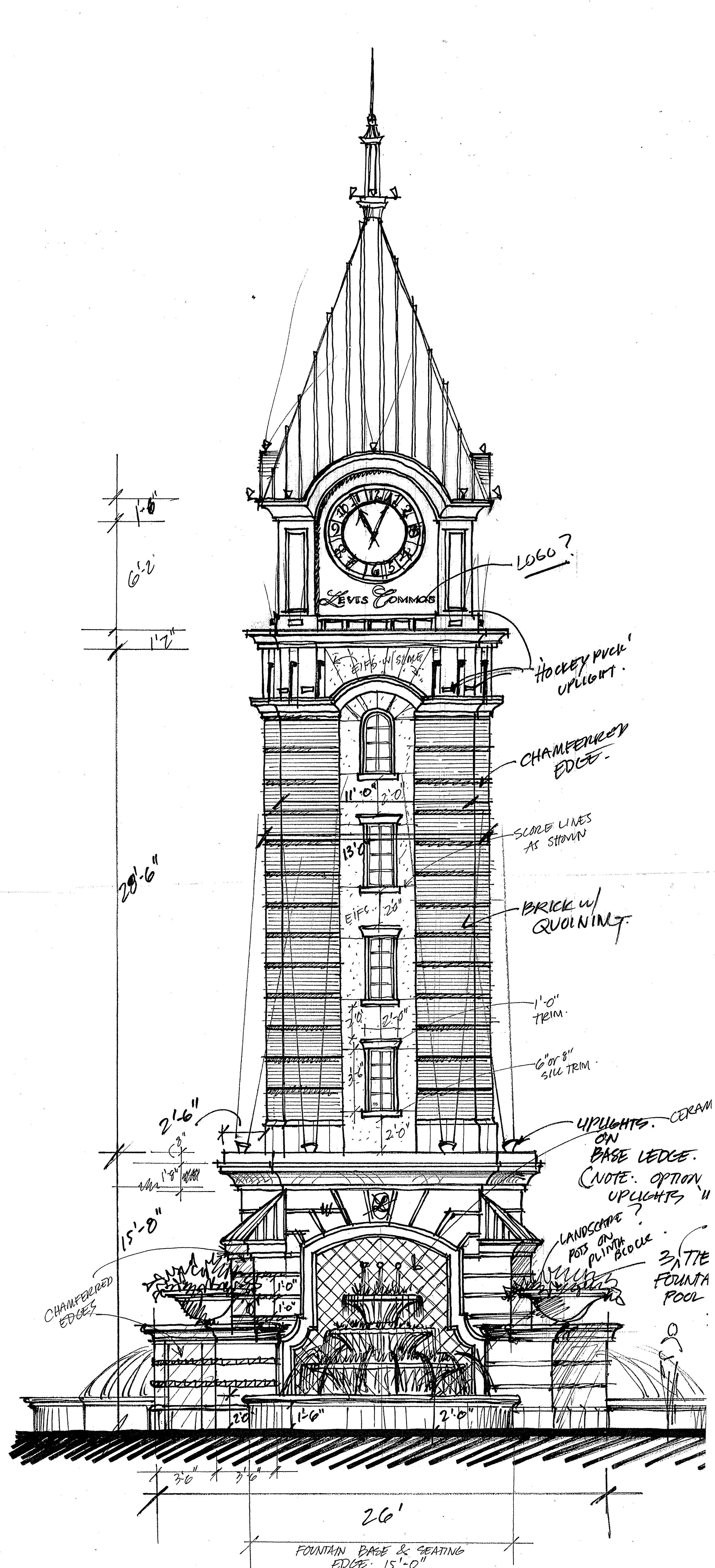Clock tower at Levis Commons. Perrysburg Ohio. Elevation