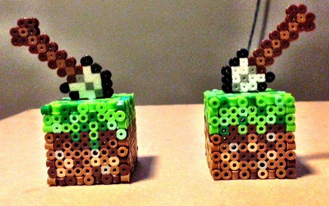 Perler Minecraft Mini 3D Grass Block Iron Shovel by