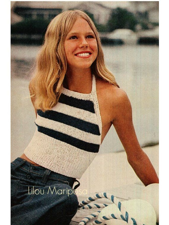 029124f621cc0f Knitting Pattern Vintage 70s-Stripped Top Pattern- Halter Top- Bikini Top  Pattern 70s-Retro-Bohemian