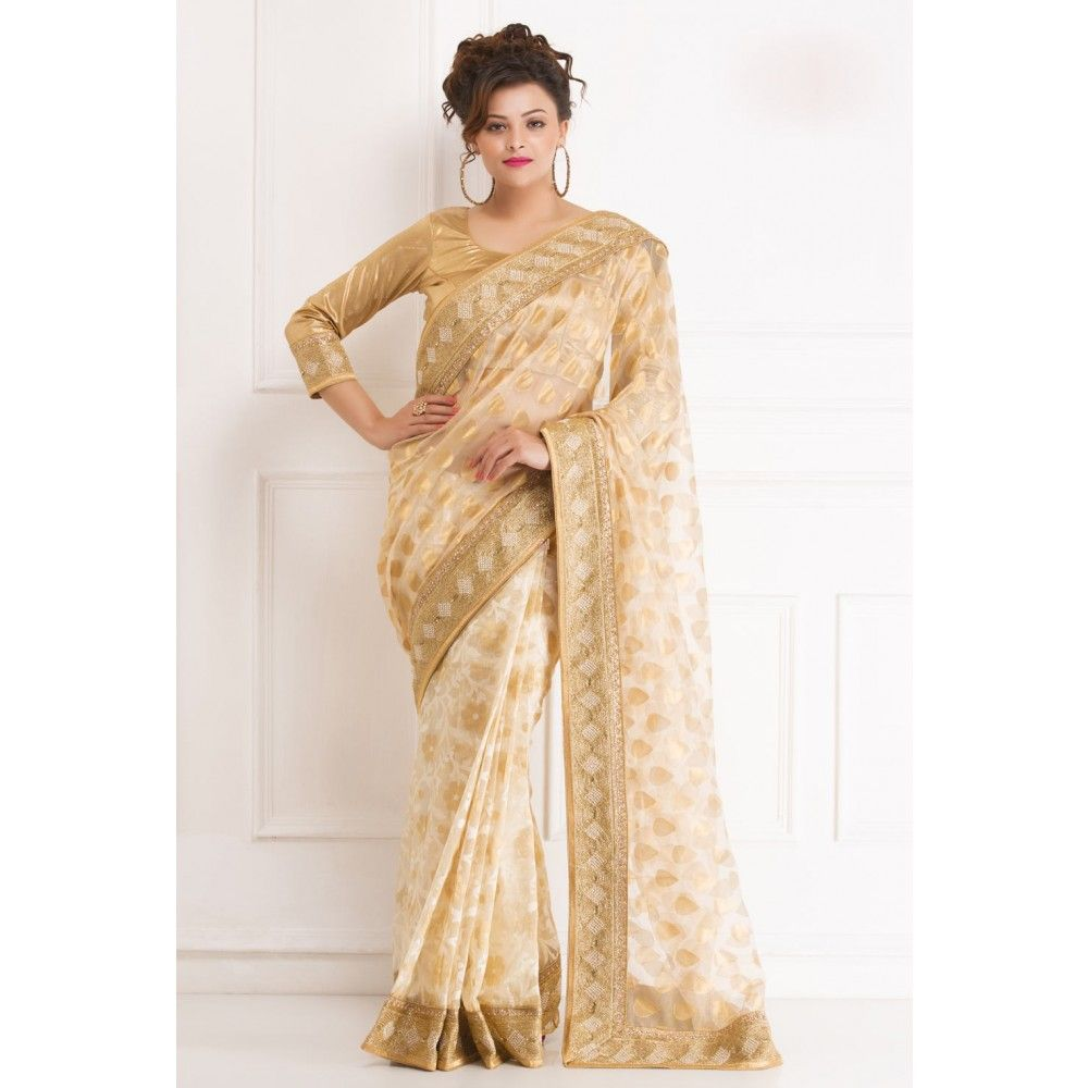 Wedding White Sarees Online: Off White And Gold Banaras #Saree With Blouse- $247.18