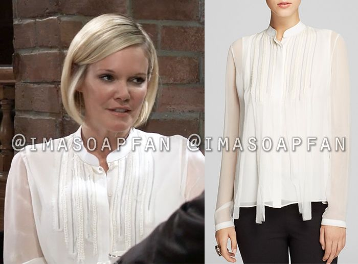 78dd789a990c0 Ava Jerome s White Silk Blouse with Braided Trim - General Hospital ...