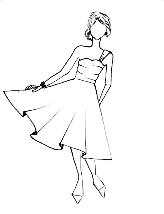 Fashion Sketches Prom Dresses Color Sheet