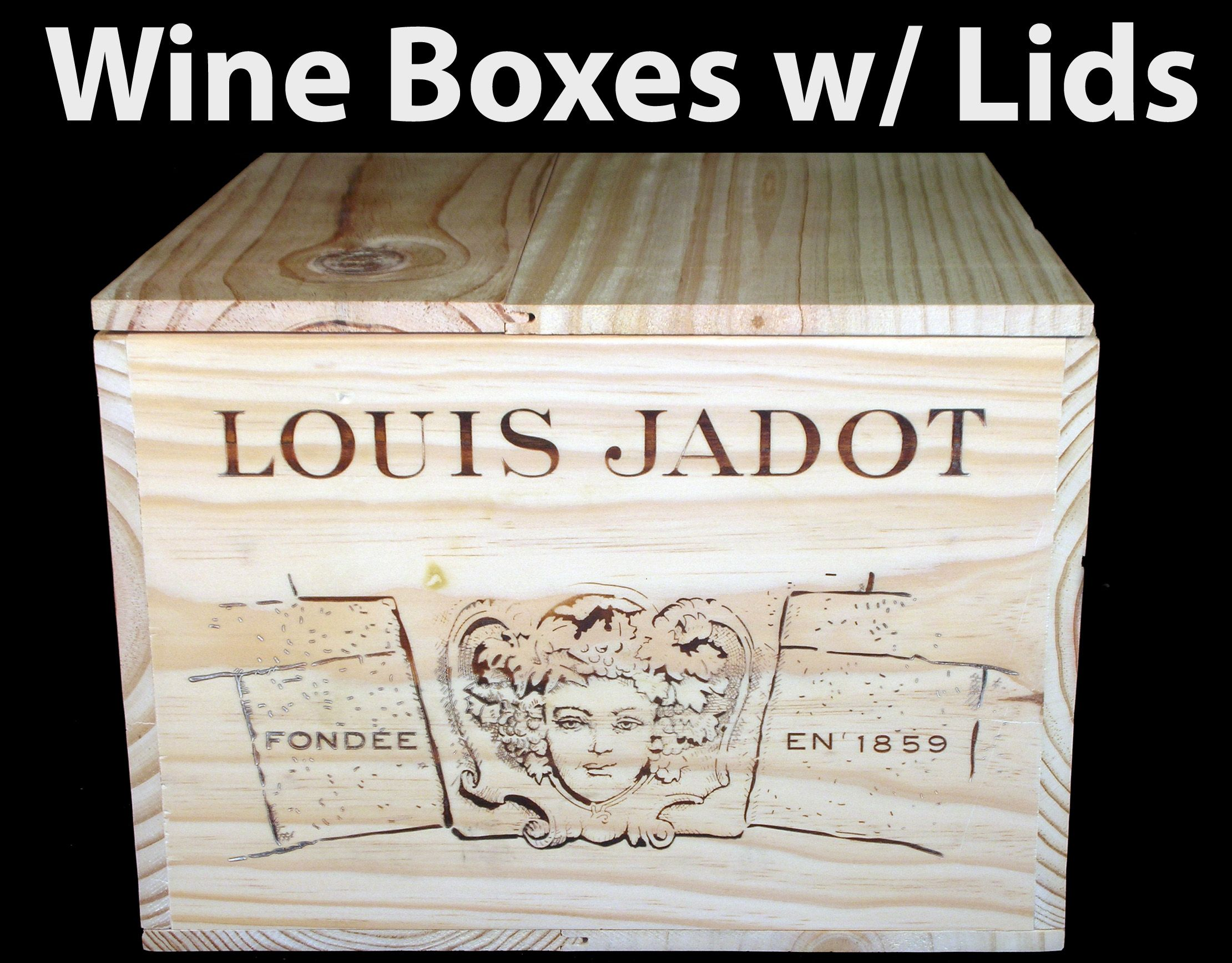 Buy wine boxes w lids buy original wine boxes and for Where to buy used wine crates
