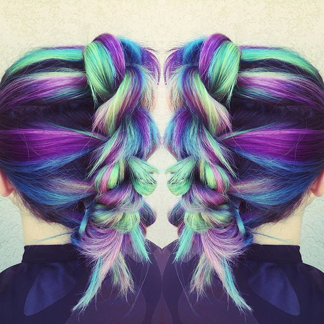 Mermaid hair Mermaid Braid Rainbow Hair Rainbow Braid Stylist Credit TK #hotonbeauty