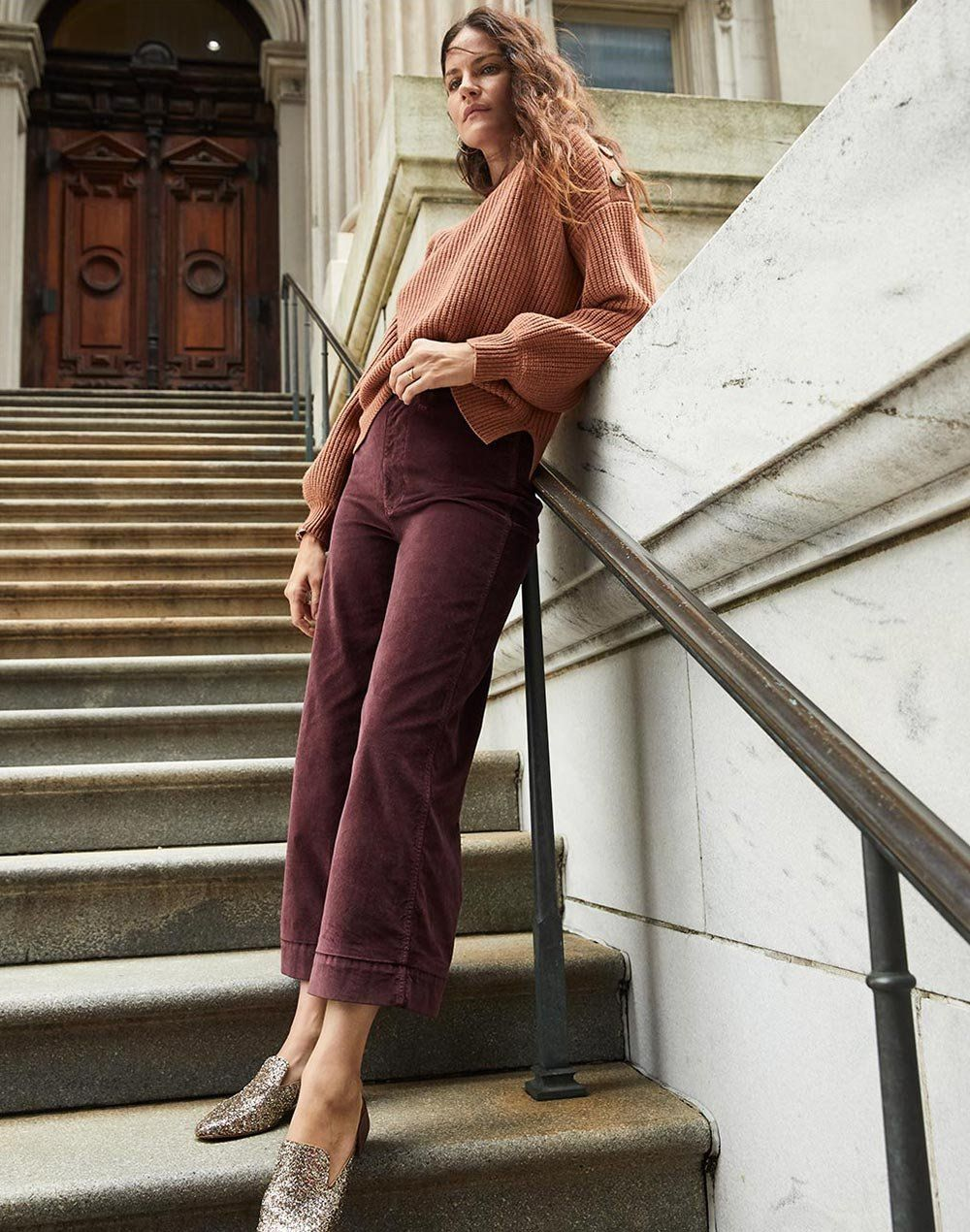 faaa95034d9 madewell emmett wide-leg crop pants worn with the willa loafer mule +  boatneck button-shoulder sweater.